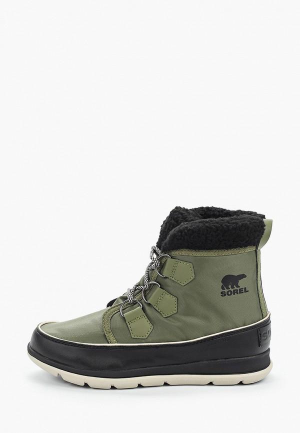 женские ботинки sorel, зеленые