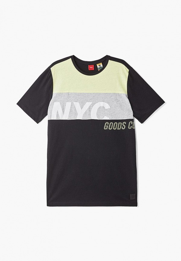 футболка с коротким рукавом s.oliver для мальчика, черная