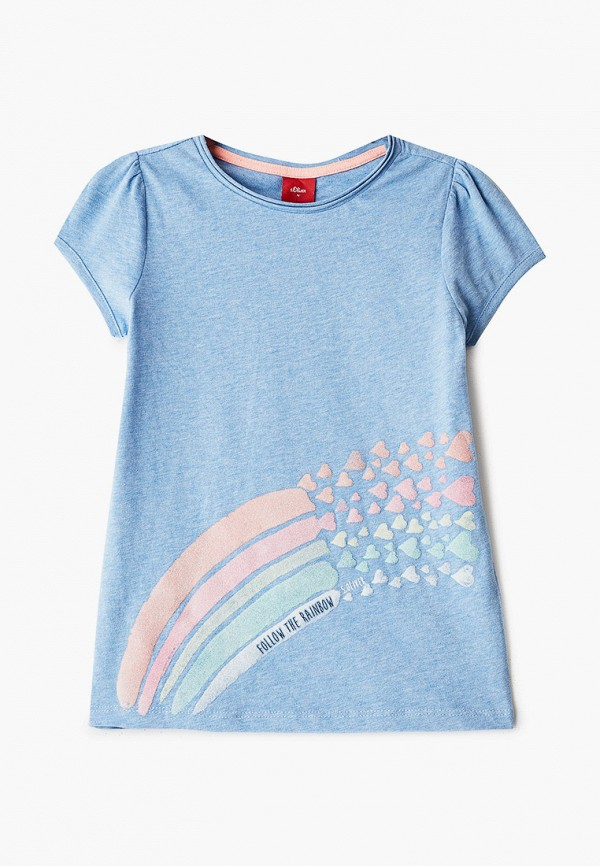 футболка с коротким рукавом s.oliver для девочки, голубая