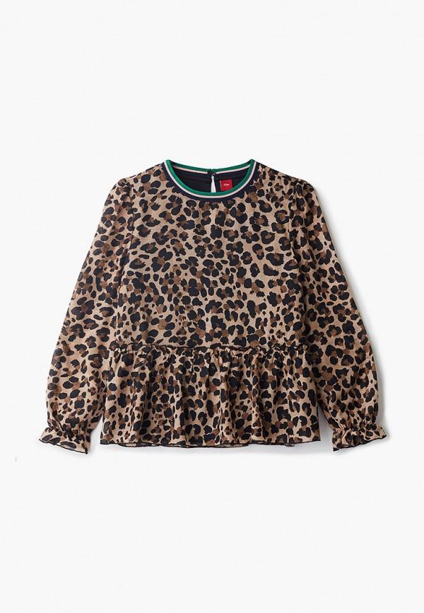 блузка s.oliver для девочки, коричневая