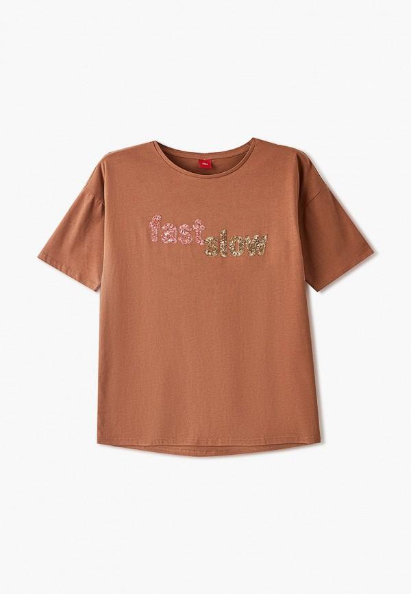 футболка s.oliver для девочки, коричневая