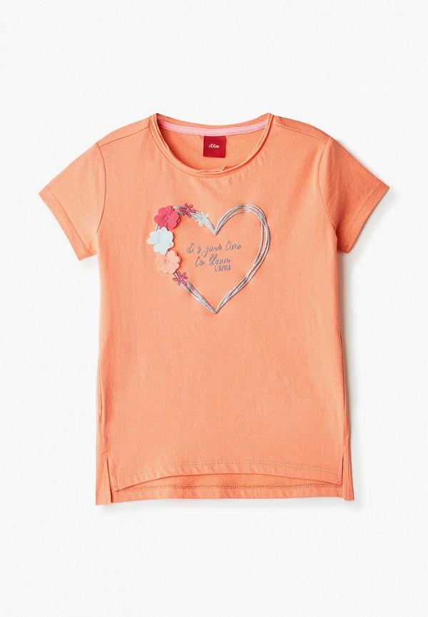 футболка с коротким рукавом s.oliver для девочки, оранжевая
