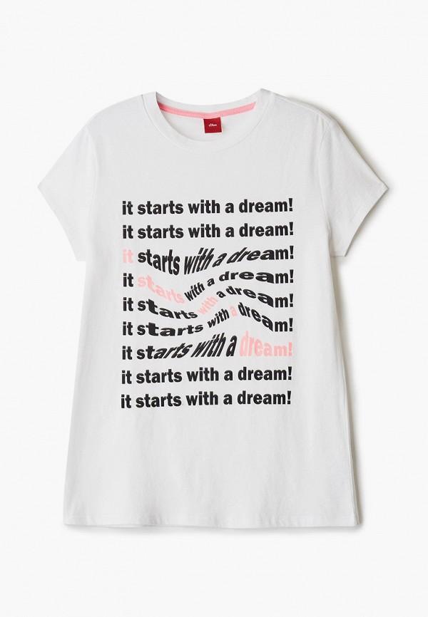 футболка с коротким рукавом s.oliver для девочки, белая