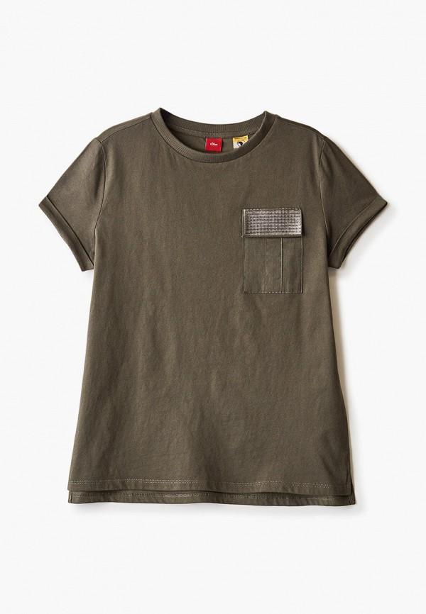 футболка с коротким рукавом s.oliver для девочки, хаки