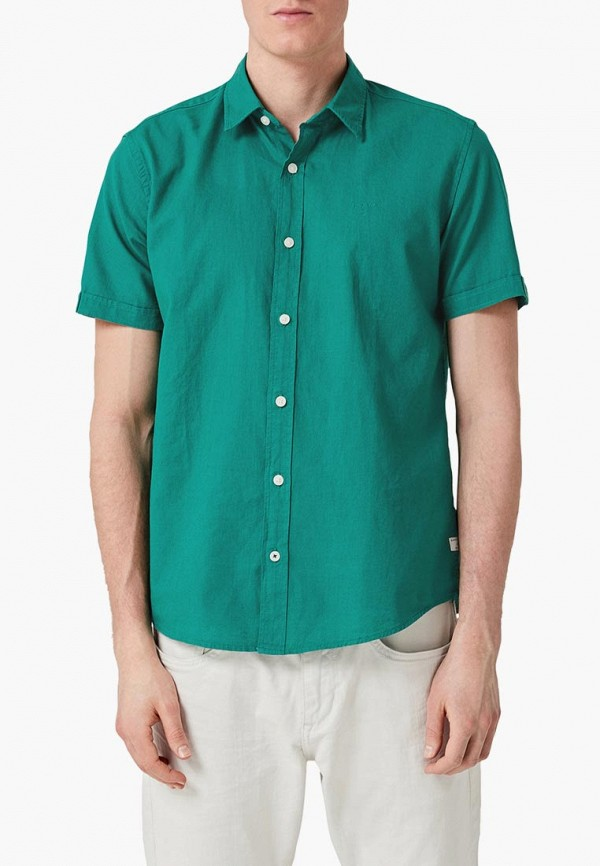 мужская рубашка с коротким рукавом s.oliver, зеленая