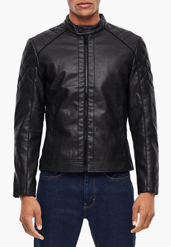 мужская кожаные куртка s.oliver, черная