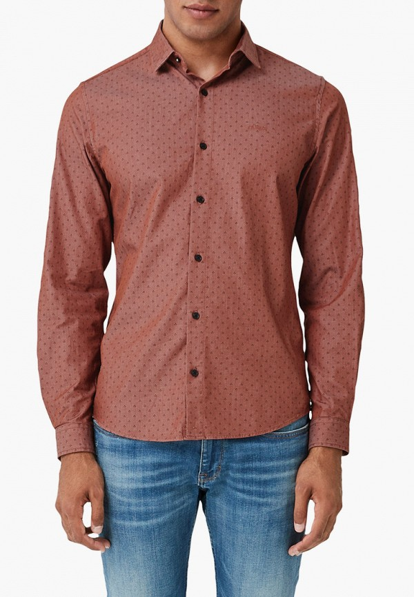 мужская рубашка с длинным рукавом s.oliver, коричневая