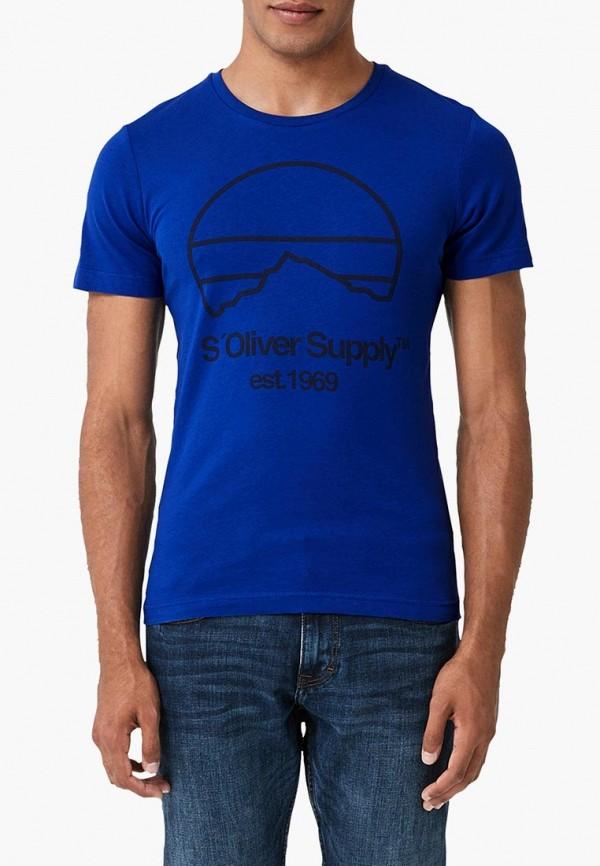 мужская футболка с коротким рукавом s.oliver, синяя
