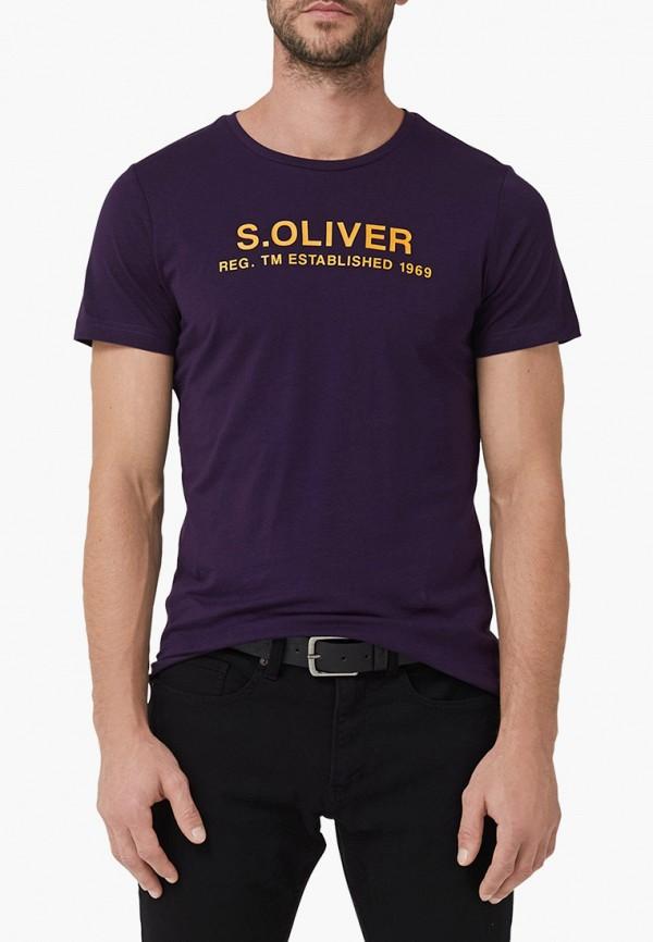 мужская футболка с коротким рукавом s.oliver, фиолетовая