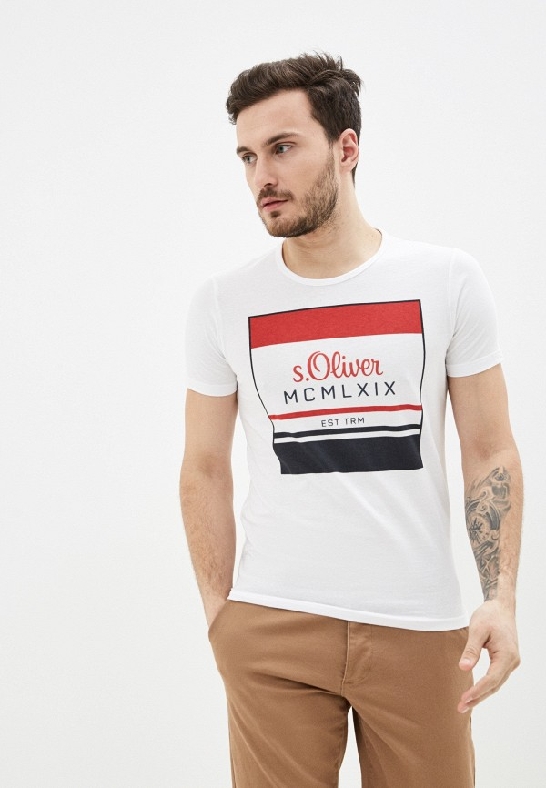 мужская футболка с коротким рукавом s.oliver, белая