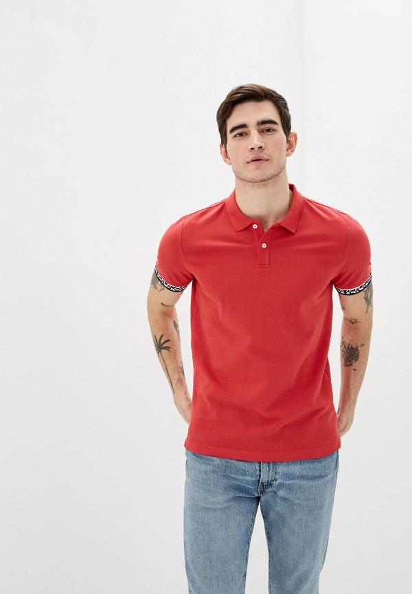 мужское поло с длинным рукавом s.oliver, красное