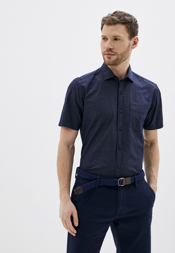 мужская рубашка с коротким рукавом s.oliver, синяя