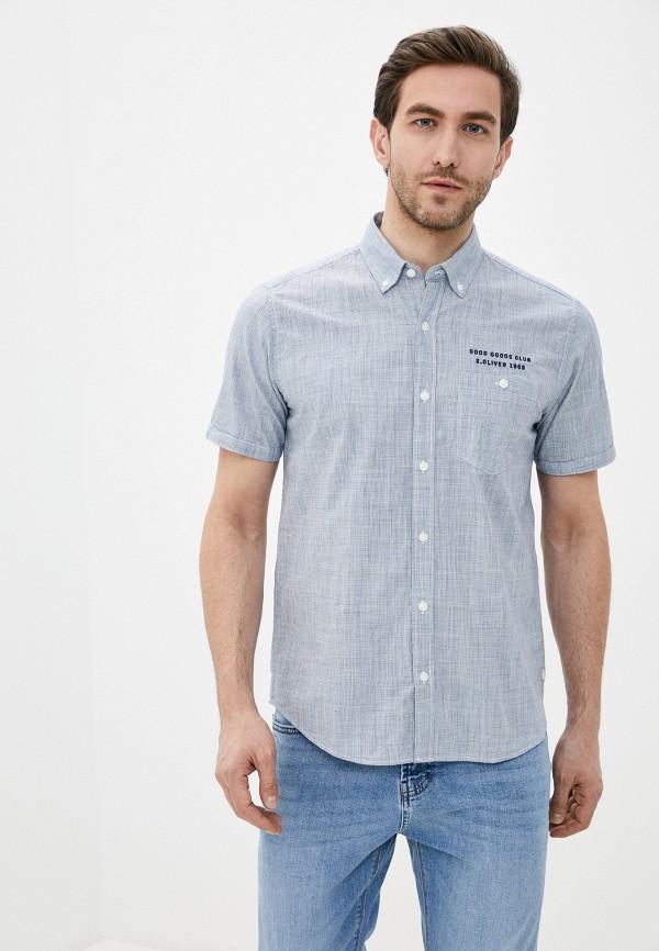 мужская рубашка с коротким рукавом s.oliver, серая