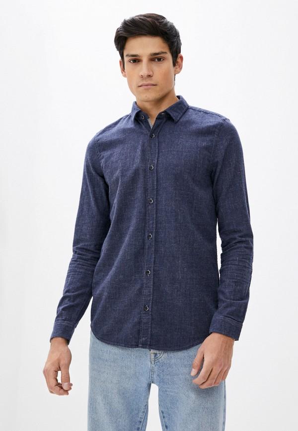 мужская рубашка с длинным рукавом s.oliver, синяя