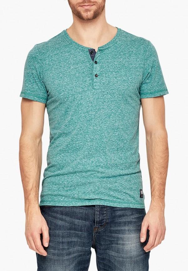 Купить мужскую футболку s.Oliver зеленого цвета