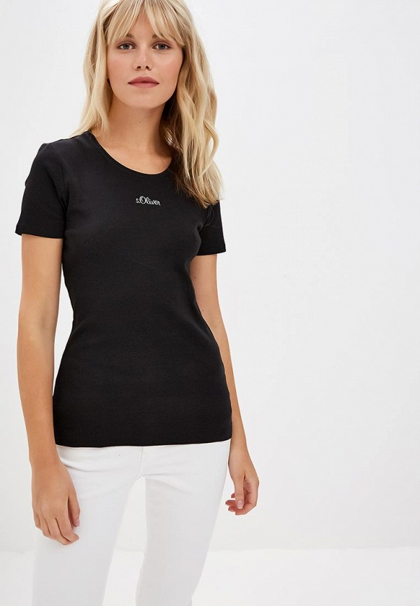 женская футболка s.oliver, черная