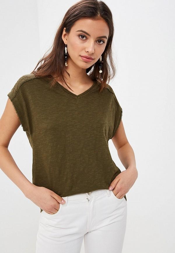 женская футболка s.oliver, хаки