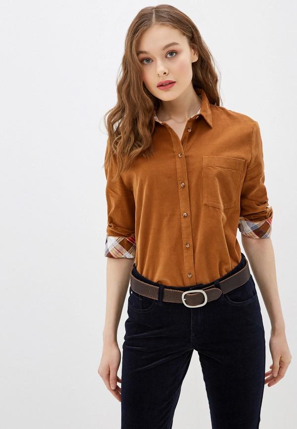 женская рубашка с длинным рукавом s.oliver, коричневая