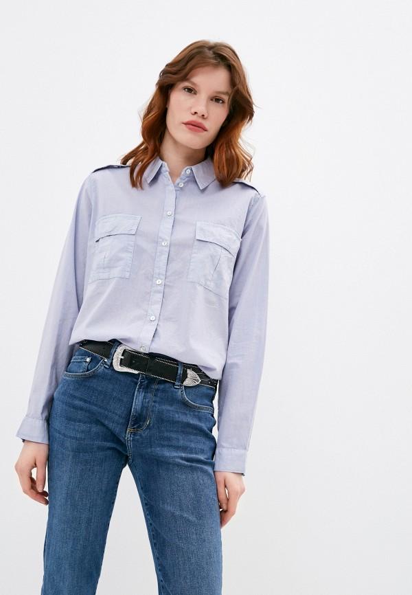 женская рубашка с длинным рукавом s.oliver, голубая