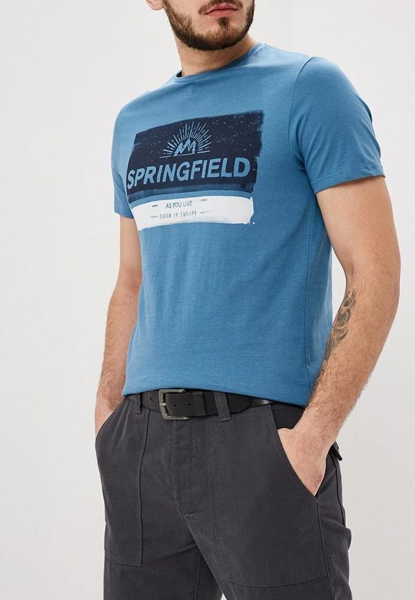 мужская футболка с коротким рукавом springfield, голубая