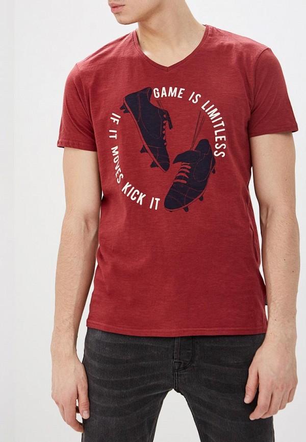 мужская футболка с коротким рукавом springfield, бордовая