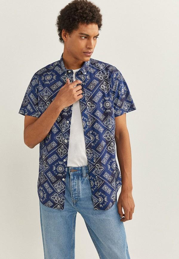 мужская рубашка с коротким рукавом springfield, синяя