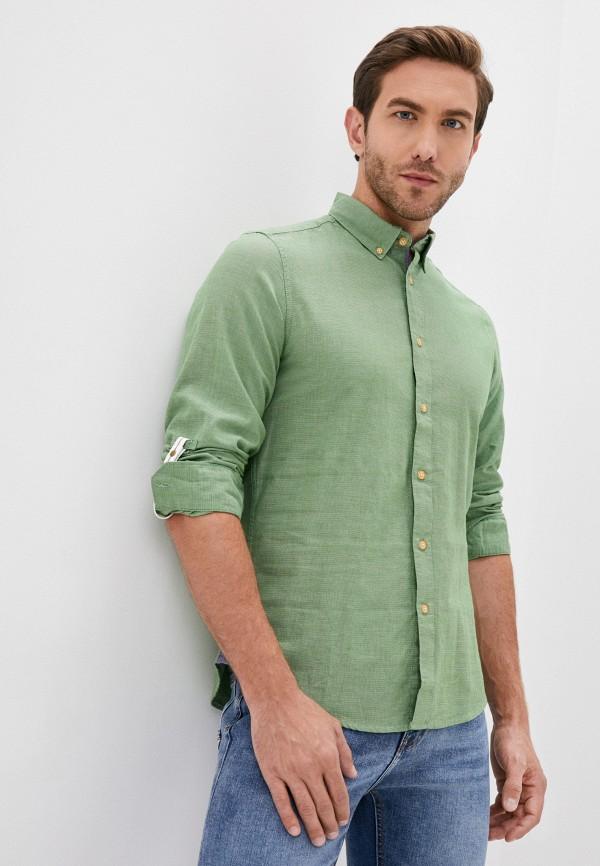 мужская рубашка с длинным рукавом springfield, зеленая