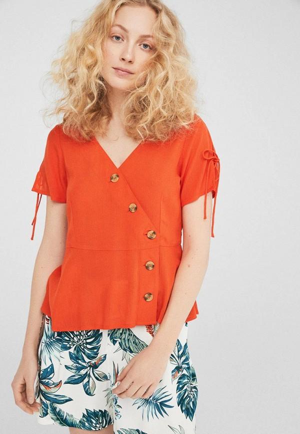женская блузка springfield, оранжевая