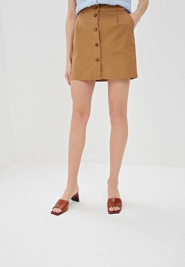 женская прямые юбка springfield, коричневая