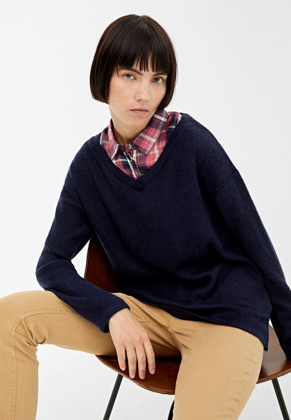 женский пуловер springfield, синий
