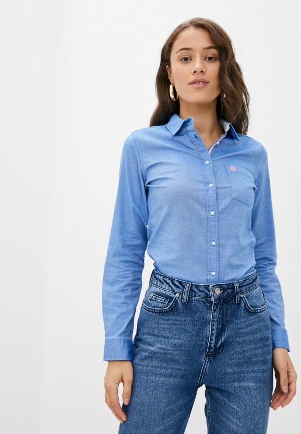 женская рубашка с длинным рукавом springfield, голубая