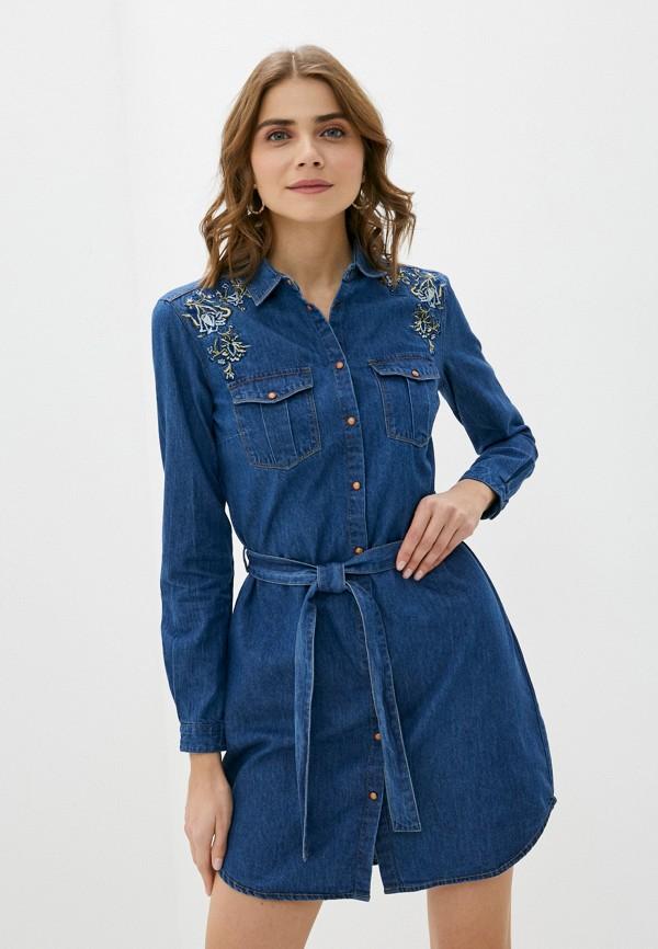 женское джинсовые платье springfield, синее