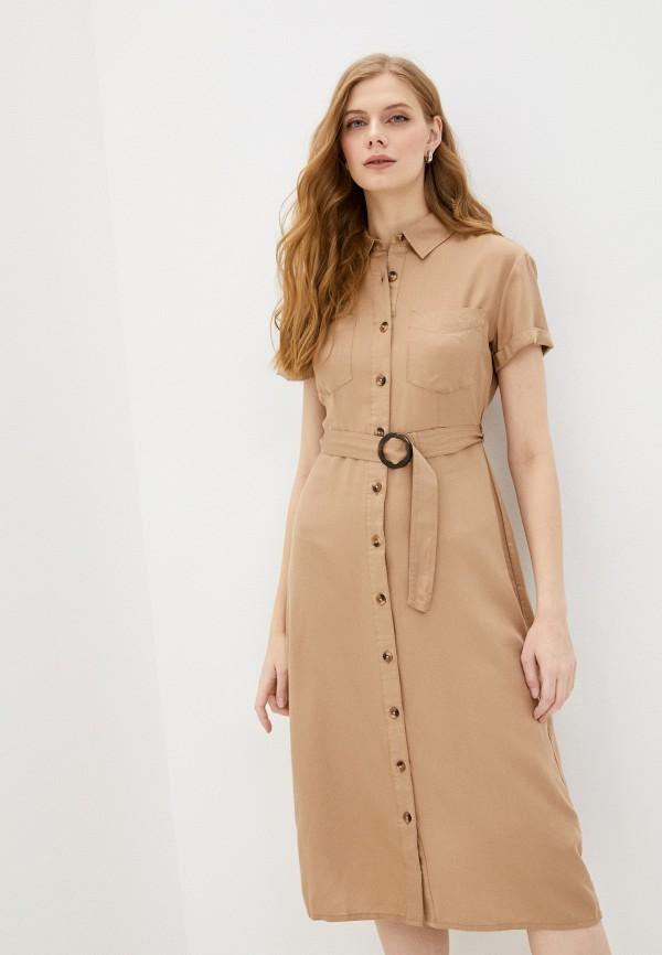 женское платье springfield, бежевое