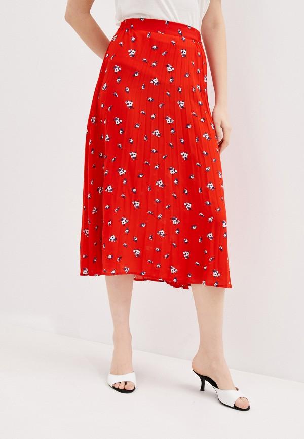 женская плиссированные юбка springfield, красная