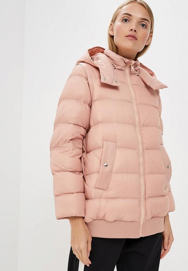 женский пуховик sportmax code, розовый