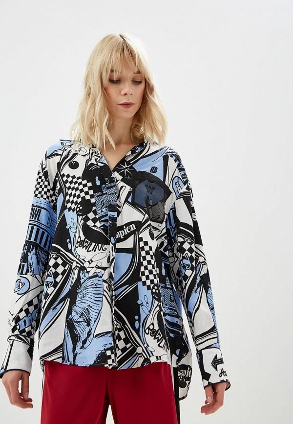 женская рубашка с длинным рукавом sportmax code, синяя