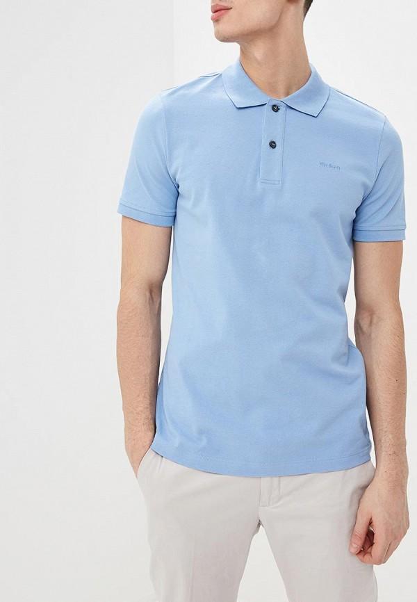 мужское поло strellson, голубое