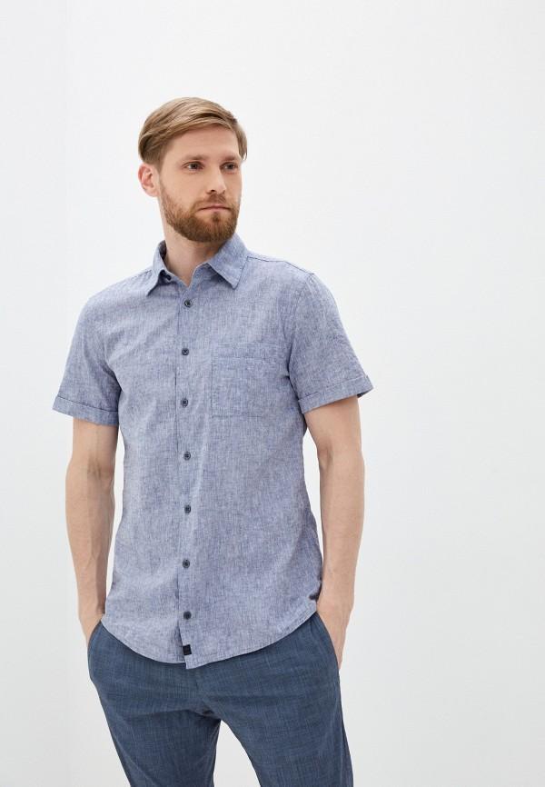 мужская рубашка с коротким рукавом strellson, синяя