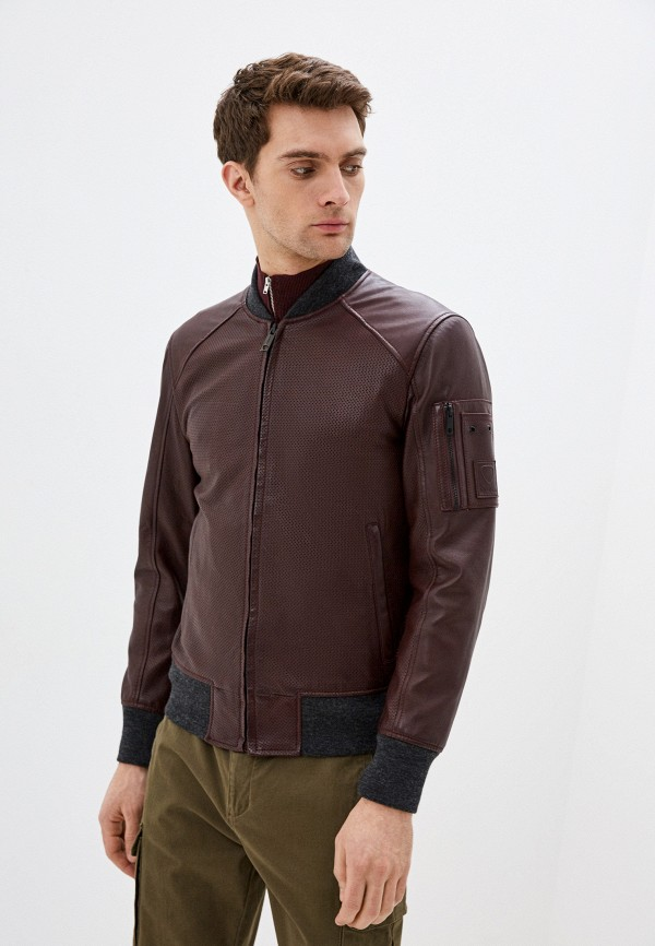 мужская кожаные куртка strellson, бордовая