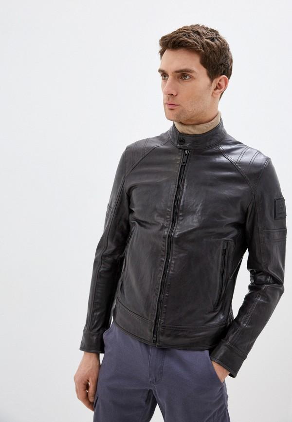 мужская кожаные куртка strellson, черная