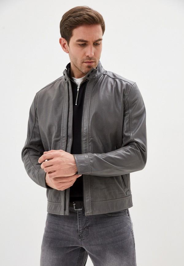 мужская кожаные куртка strellson, серая