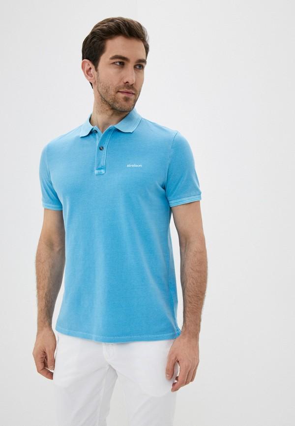 мужское поло с коротким рукавом strellson, голубое