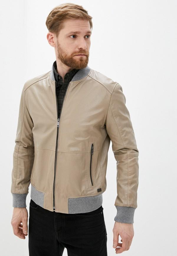 мужская кожаные куртка strellson, бежевая