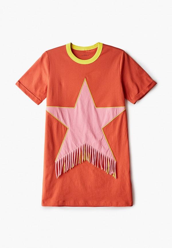 повседневные платье stella mccartney для девочки, оранжевое