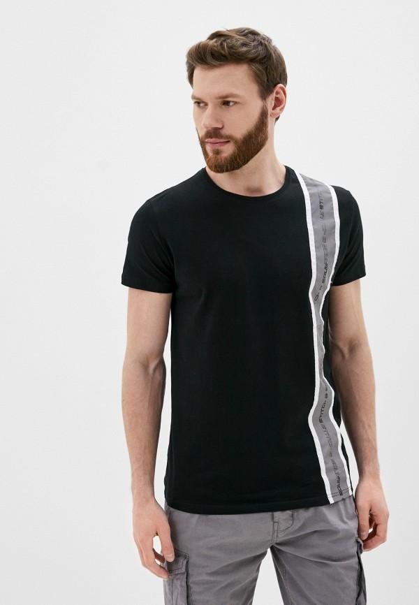мужская футболка с коротким рукавом stitch & soul, черная