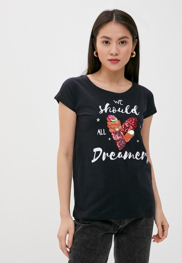 женская футболка stitch & soul, черная