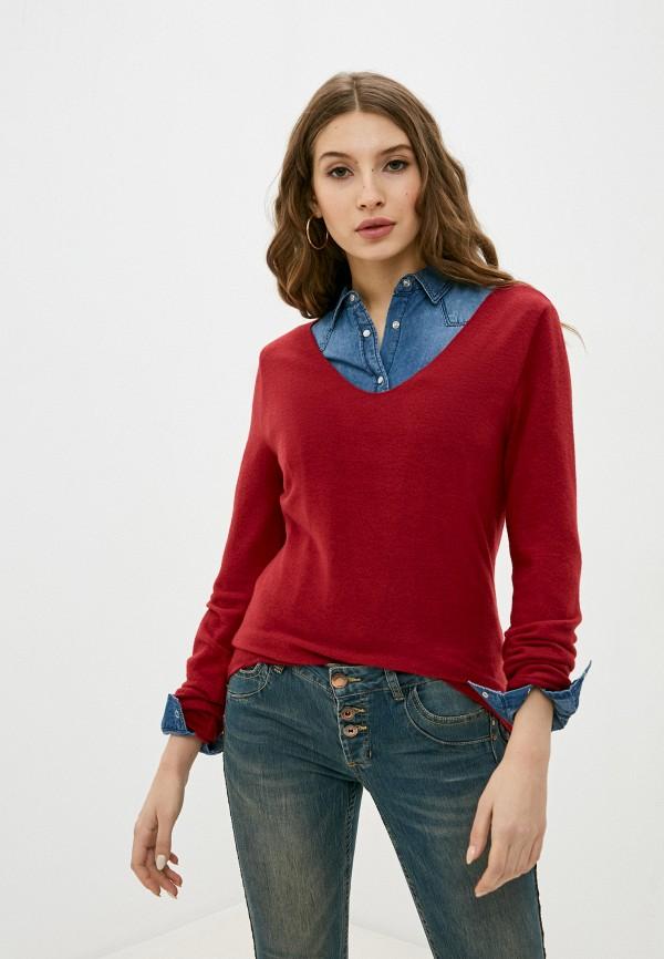женский пуловер stitch & soul, бордовый