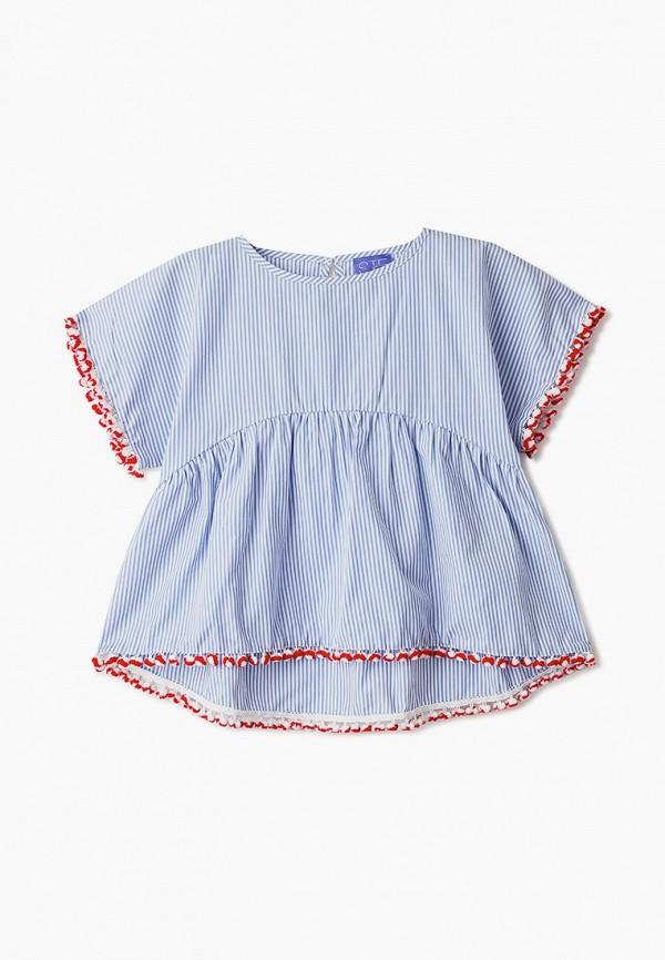 блузка stella jean kids для девочки, голубая