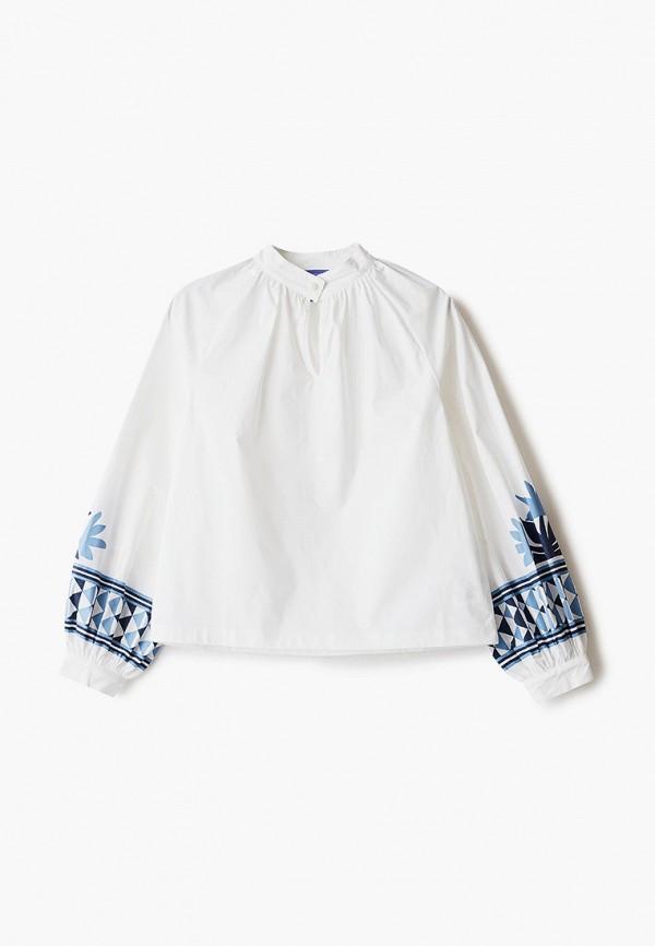 блузка stella jean kids для девочки, белая