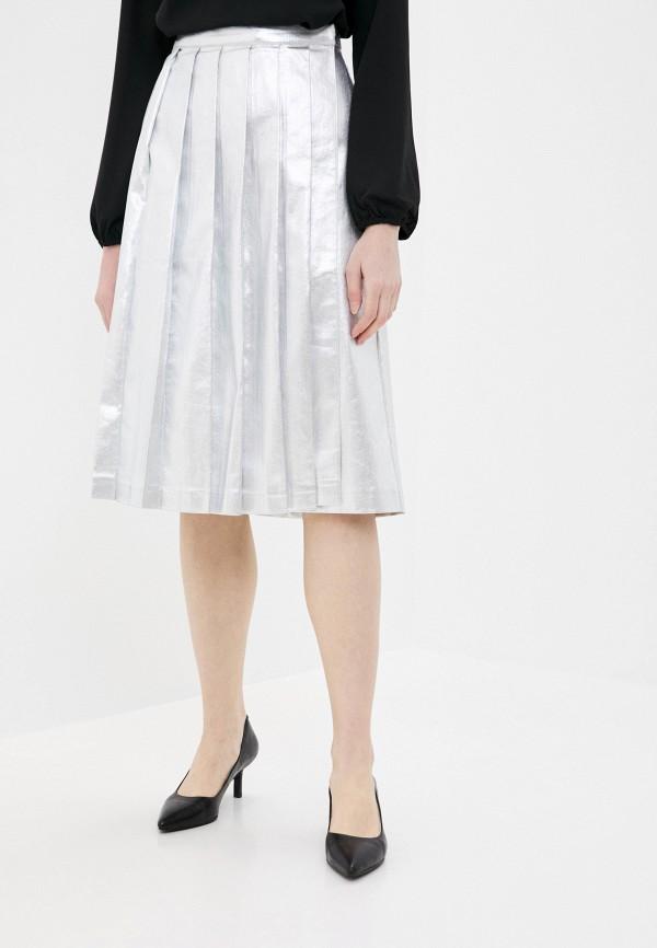 женская юбка stefanel, серебряная